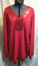 M NEW Chit Chat Ladies Red Top Blouse Shirt Tunic Sequin QVC Style Medium Bling