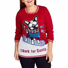 Holiday Time I Bark for Santa Red French Bull Dog Ugly Christmas Sweater XL