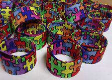 10 CHILDREN ADULT AUTISM AWARENESS SLAP BRACELET PUZZLE PIECES AUTISM FUNDRAISER