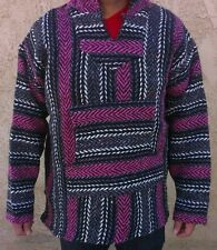 Medium Mexican Baja Hippie Surfer Pullover Hooded Sweater HotPink/DarkGray/White