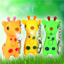 3D cute Giraffe Light Up LED Torch With sound Keyrings KeyChain baby TOYS UYS133