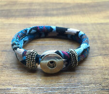 DIY Handmade Leather Bracelets Drill Fit For Noosa Snaps Chunk Charm Button PO04