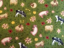 Buttercup Farm Scattered Animals 100% Cotton Makower Fabric Sewing/Quilting