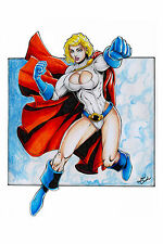 POWER GIRL by JEAN DANIEL-ART PINUP Drawing Original