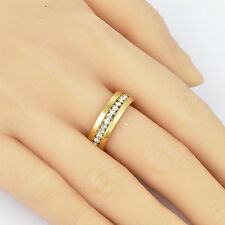 Femme 18K or jaune rempli clear cz lot band ring taille 7 mariage
