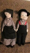 VINTAGE PAIR HANDMADE AMISH CLOTH DOLLS EMBROIDERED FACES