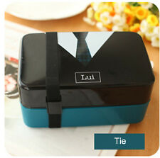 Mens Tie Pattern Plastic Bento Lunch Box for Kids Food Lunch Container BPA Free