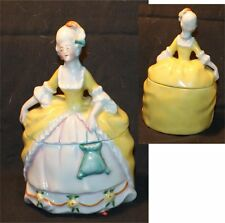 Vintage Victorian Lady Figural Powder Dresser Jar Box   yellow dress