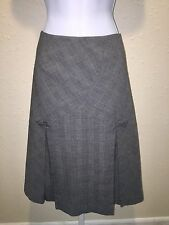 Anthropologie Elevenses Gray Glen Plaid Pleated Skirt Size 2 Bow Accent A Line