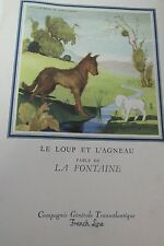 French Line LIBERTE Dinner Menu 1957 - La Fontaine Fable Le Loup et L'Agneau