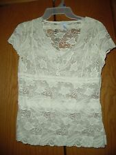 Apt. 9 Ivory Stretch Lace Cap Sleeve Top Size S
