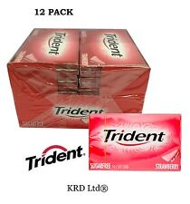 12 Packs x TRIDENT STRAWBERRY Soft Chewing Gum Packet Packs Sugar Free FULL BOX
