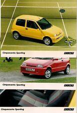 Fiat Cinquecento Sporting 3 x 1995 Original UK Market Colour Press Photographs