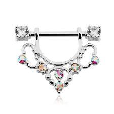 Golden Elegant Sparkle Filigree Dangle Nipple Shield Ring Clear AB CZ Barbell