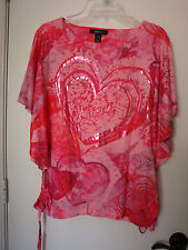 SIZE LARGE STYLE & CO HOT PINK BATWING  SHIRRING TIED SIDES BLOUSE SCOOP NECK