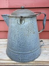 "Large 13"" Vintage Enamelware Granite Ware Cowboy Chuckwagon Coffee Pot Kettle"