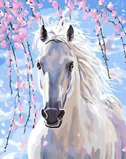"16x20"" DIY Acrylic Paint By Number kit Oil Painting On Canvas White Horse Flower"