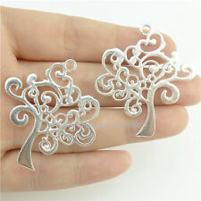15409*10PCS Hollow Plant Tree Of Life Pendant Charm Alloy Bright Silver