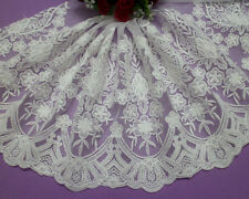 """10""""*1yard Vintage Off White Embroidered Cotton Tulle Lace Fabric Trim For Dress"""