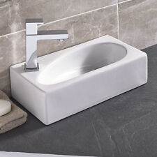Modern Square Small Left Hand Cloakroom Wall Hung Counter top Corner Basin Sink