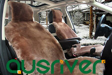 Brown Premium Quality Australian Sheep Skin Car Short Wool Front Seat Cover