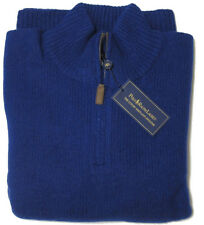 Polo Ralph Lauren Mens Angora Wool Knit Leather Half Zip Luxury Shetland Sweater