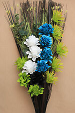 LUXURY ARTIFICIAL SILK GREEN / TEAL / WHITE & BLACK FLOWER ARRANGEMENT (NO VASE)