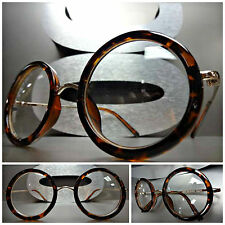 Men Women CLASSIC VINTAGE RETRO Clear Lens EYE GLASSES Round Tortoise Gold Frame