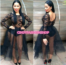 New Women 2PC Set Clubwear Hollow Out Lace Bandage TUTU Party Ball Gown Dress