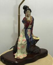 Beautiful Vintage Chinese Shiwan Ceramic Lady Figurine Lamp, Large, Mint