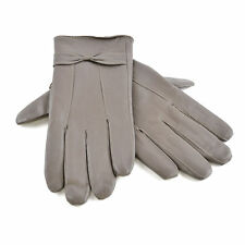 New Ladies & Women Real Leather Gloves lining Driving Winter In Grey M/L Size