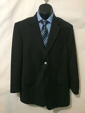 Perry Ellis Wool Black Grey Striped 2 Piece Suit 40R Pants 33 x 32 Free Shipping