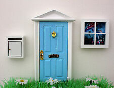 Opening blue elf door, post box, elf window