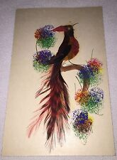 Vintage Postcard Handpainted Bird Real Feather Mexico Brown Gold Red Art Rare
