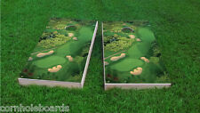 Aerial View of Golf Course Themed 2x4 Custom Cornhole Board Set w/Bags