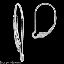 INTERCHANGEABLE 10x17mm Leverback Earring Wires 14K SOLID White Gold - ONE PAIR