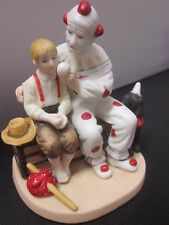 "Porcelain Clown Figurine ""The Runaway"" Inspired by Norman Rockwell Museum 3.5"""