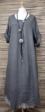 LAGENLOOK OVERSIZED LINEN ASYMMETRICAL A-LINE DRESS**CHARCOAL**BUST UP TO 50""