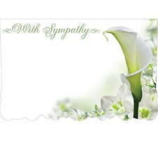 """50ct. LILY FLOWER """"With Sympathy"""" Blank Florist Enclosure Cards Small Tags"""