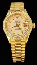 Rolex Ladies Datejust Date President 18K Gold Diamond Dial/Bezel Watch