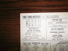 1965 Ford & Mercury EIGHT Series Models Police 390 CI V8 Tune Up Chart