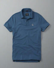 NWT Abercrombie & Fitch Men's Blue Iconic moose logo Polo Shirt M stretch New