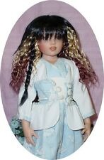 "Doll Wig 7/8"" fits 16"" Kish and others, Black Velvet, Synthic Mohair"