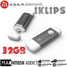 Adam Elements iKlip 32GB Lighting USB 3.0 Flash Memory Drive For iPhone GREY