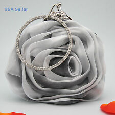 Silver Grey Satin Rose Soft Rhinestones Clutch Party Prom Wedding Bag Bling