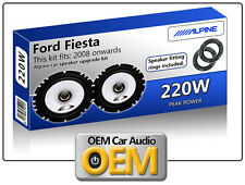 Ford Fiesta Front Door speaker kit Alpine car speakers + Speaker Adaptors 220W