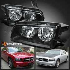 2006-2010 Dodge Charger Replacement Black Clear Headlights Head Lamps Left+Right