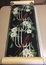 "VINTAGE RED BIRDS & FLOWERS FLORAL PAINTED ART DECO WALLPAPER ABOUT 17.75"" x 33'"