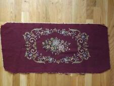 Vintage Burgandy Floral Needlepoint Piano Bench Cover Gold Roses
