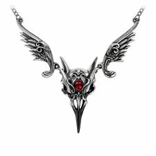 ALCHEMY MASQUE OF THE BLACK ROSE GOTHIC NECKLACE PEWTER RAVEN SKULL RUBY WINGS